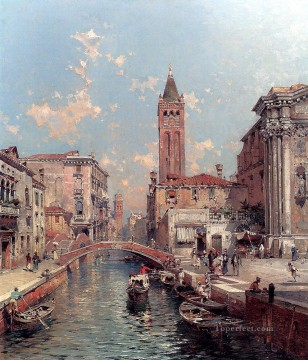 Rio Santa Barnaba Venice Franz Richard Unterberger Venice Oil Paintings